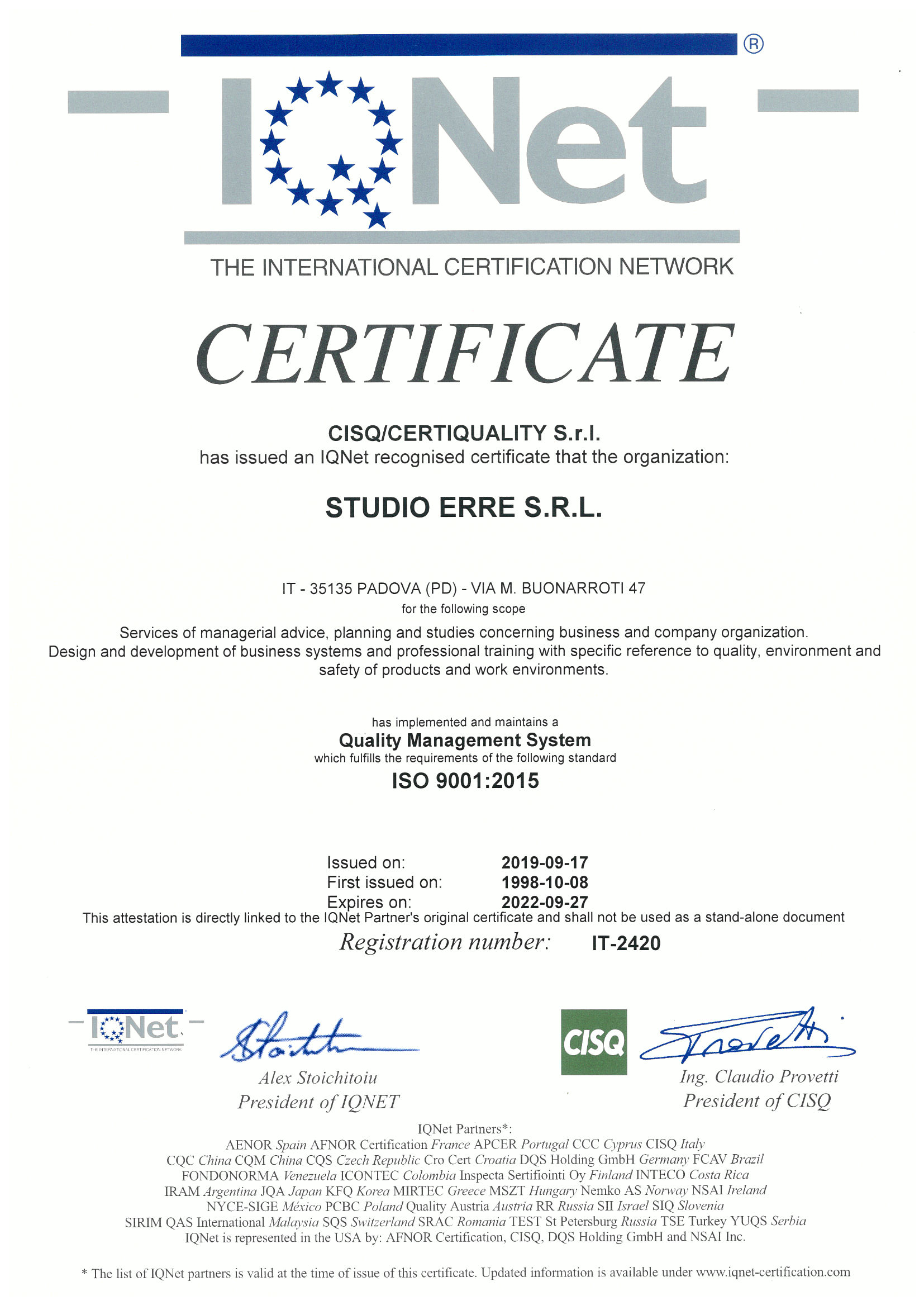 Studio Erre - Certificato IQnet ISO9001