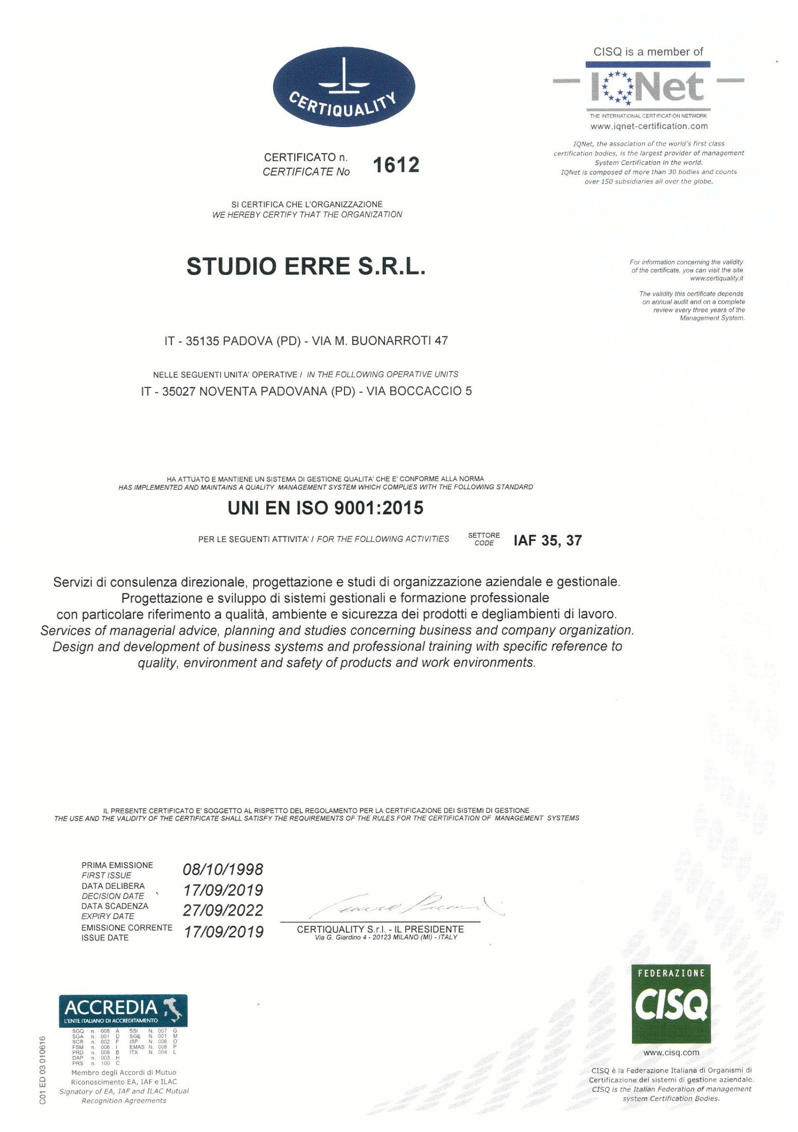 Studio Erre - Certificato ISO9001